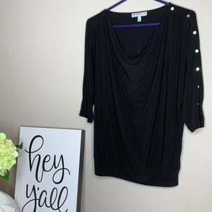 Chaus New York Button Sleeve Scoop Neck 3/4 Sleeve